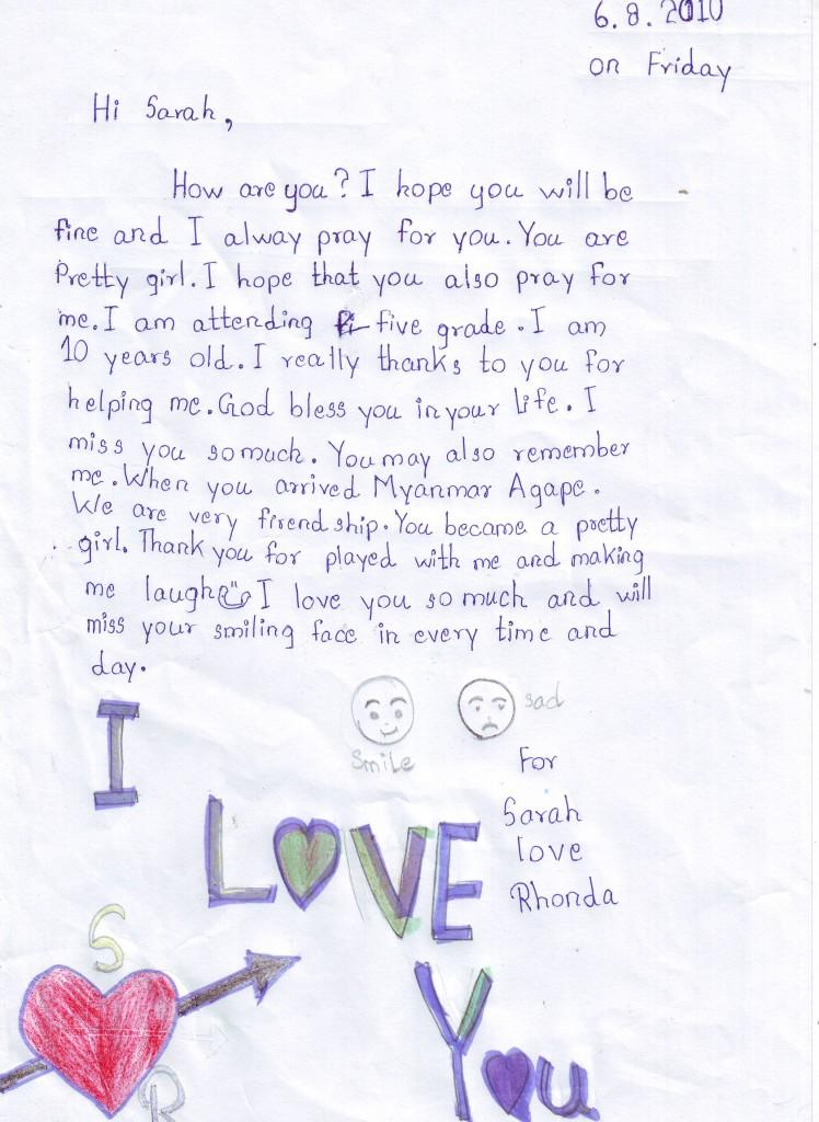 Rhonda letter